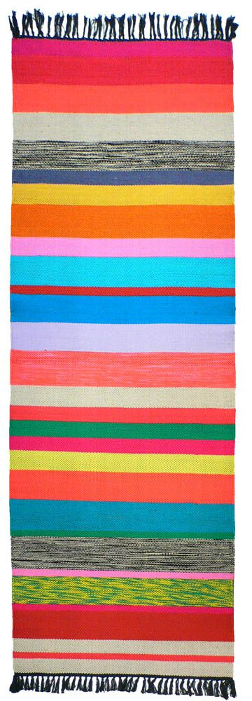 Kilim Runner Rug Colored Stripes For Upstairs Hall
