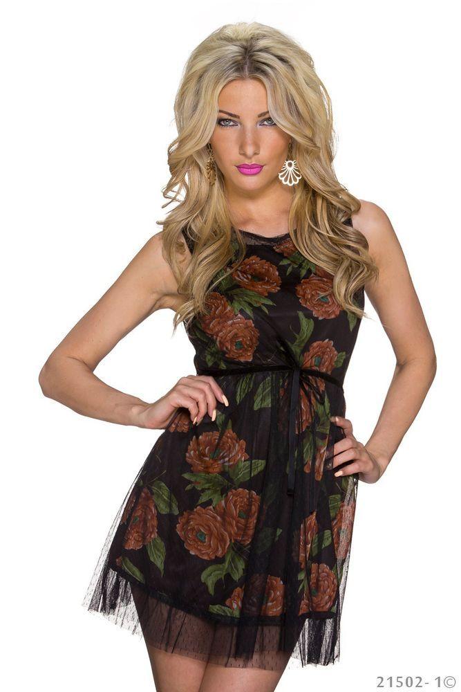SEXY NEW Womens Floral SLEEVELESS Tea DRESS Size 8 Net Mesh Waist Belt | eBay