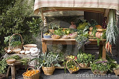 Medieval market stall selling fruit by Dimitri Surkov, via Dreamstime