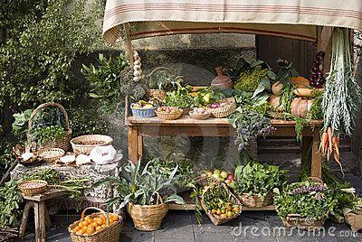 Medieval market stall selling fruit by Dimitri Surkov, via Dreamstime
