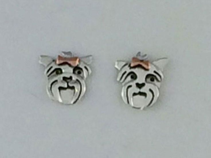 Micro Yorkie Sterling Silver & Copper Earring on Post
