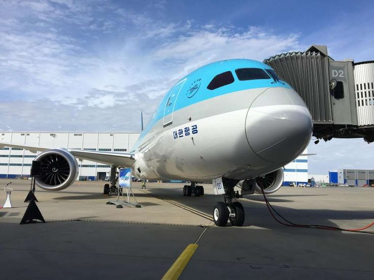 Korean Air shows off its brand new Boeing 787 Dreamliner  -  February 22, 2017:     Korean Air's first Boeing 787‐9 Dreamliner is seen during delivery ceremony festivities at Boeing's 787 facilities in North Charleston, S.C., on  Feb. 22, 2017.