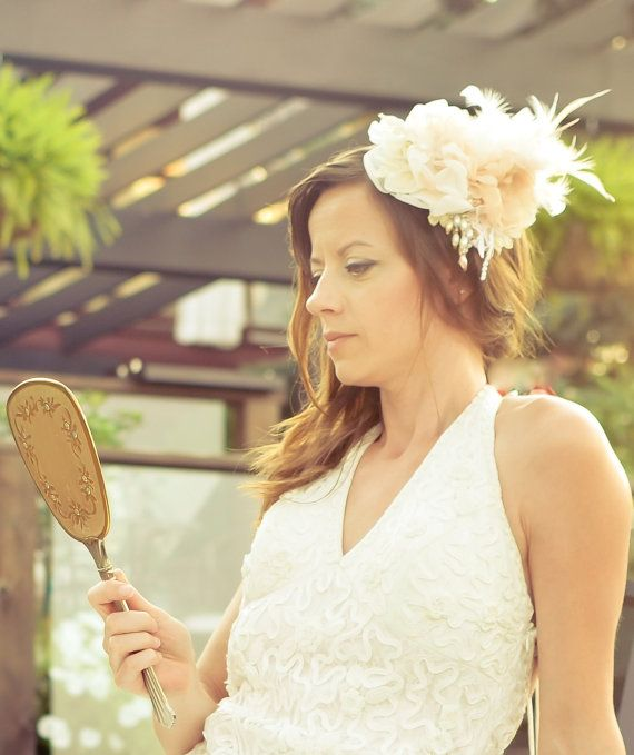 Statement Bridal Headpiece - Champagne, Peach and Ivory - Fascinator Comb - Pearls, Lace, Hand Beaded Swarovski Crystals