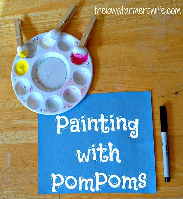 The Iowa Farmer's Wife: Easter Crafts: Painting with PomPoms