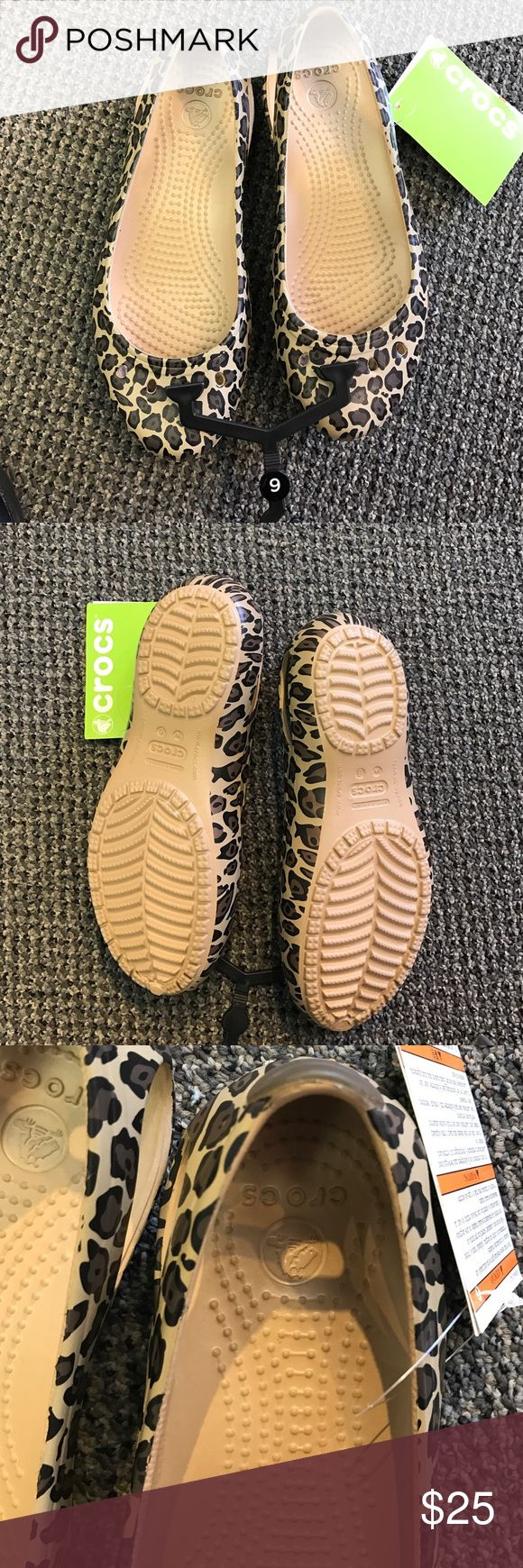 Crocs leopard flat shoes size 6 NWT Crocs leopard flat shoes size 6 great print with all the comfort of Crocs * new with tags!  * kadee leopard * make me an offer! * never worn * too bad they don't fit me! CROCS Shoes Flats & Loafers