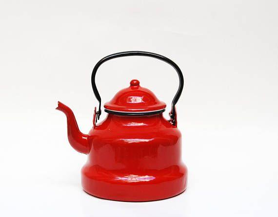 red teapot red metallic teapot vintage enamel pot vintage tea kettle Mid century teapot enamel kettle french vintage teapots enamel tea pot