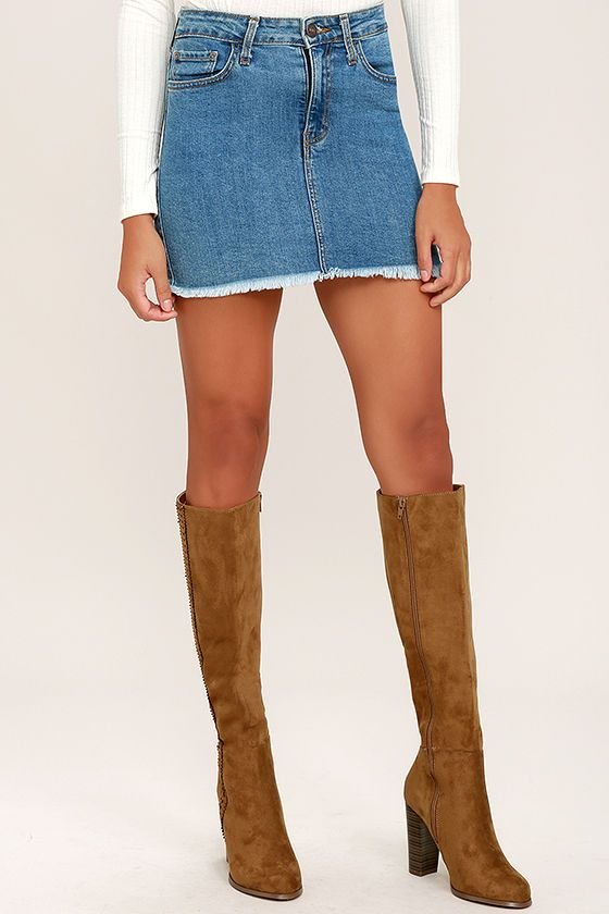 """Sweet and smooth, the Tennessee Chestnut Suede Knee High Heel Boots know how to get the party going! Velvety vegan suede covers an almond toe upper, and rises to a 18"""" shaft with zipper at the instep. Cutout detail at the outstep."""