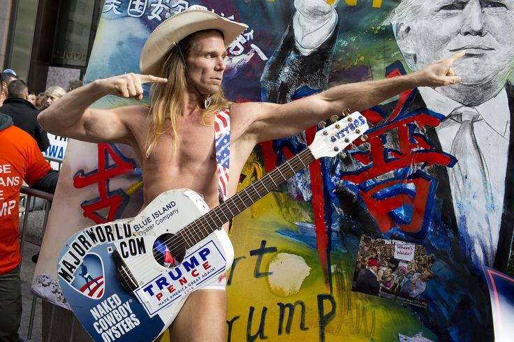 """The Naked Cowboy told Yahoo News that he voted for Donald Trump today. """"Trump has a lot of good ideas,"""" he said. When asked to elaborate, the Naked Cowboy responded in song."""