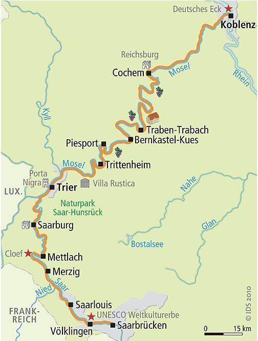 Saar and Mosel bike path in Germany