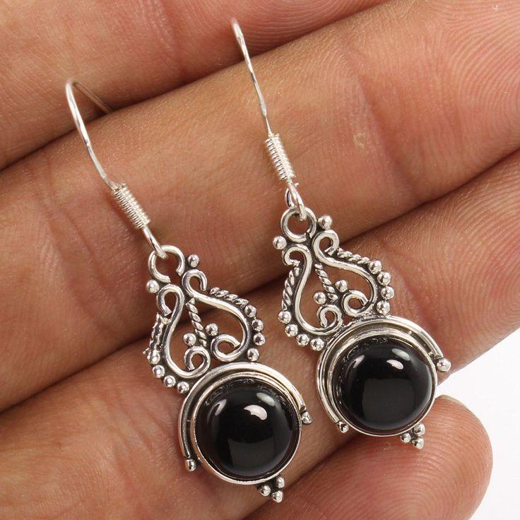 Wholesale Price 925 Sterling Silver 1 Pair Earrings Natural BLACK ONYX Gemstones #Unbranded #DropDangle