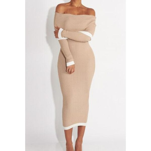 Khaki Off Shoulder Long Sleeve Bodycon Sweater Dress ($21) ❤ liked on Polyvore featuring dresses, khaki, sweater dress, evening dresses, white long-sleeve dresses, white dress and cocktail dresses