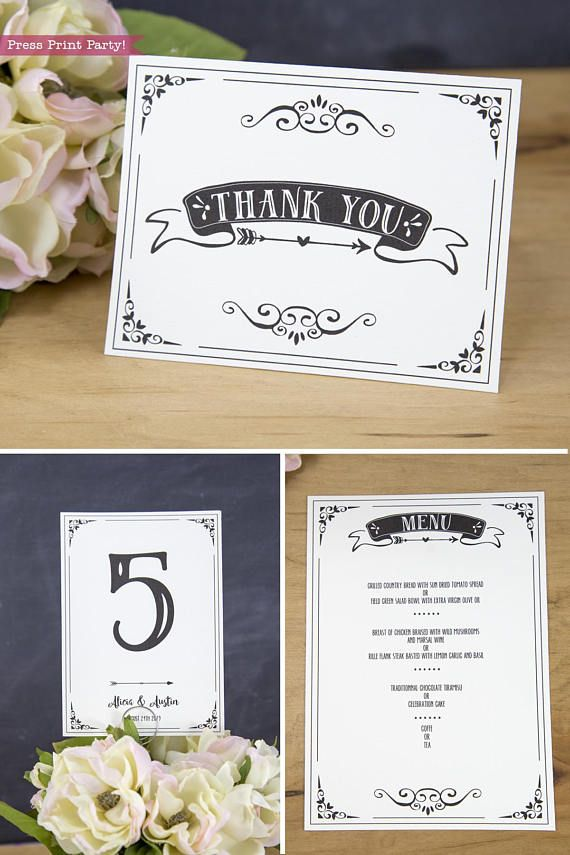 printable wedding place cards vintage%0A Wedding Invitation Template Invitation Suite Boho Wedding thank you note  wedding  table number cards