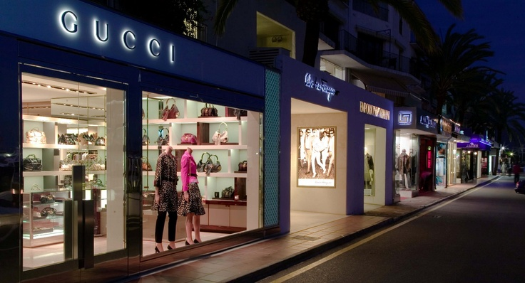 Puerto Banus by Night fortunately the shop is closed