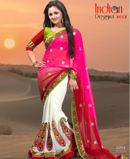 Marvelous Pink & White Saree