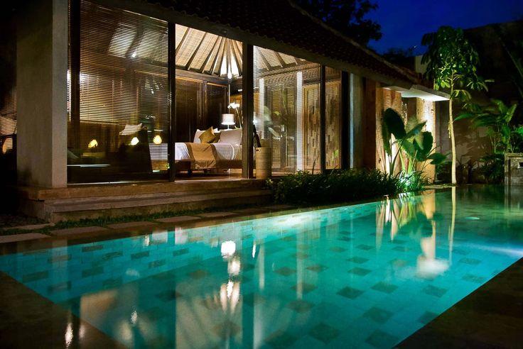 Bali Villa Photography - Komea Villas - pool views night time light