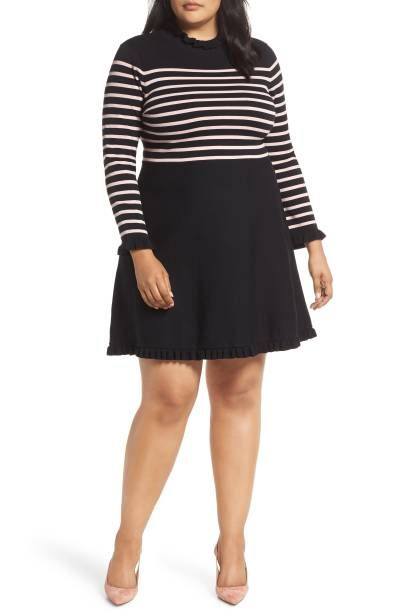 306195199f369 Mock Neck Stripe Sweater Dress