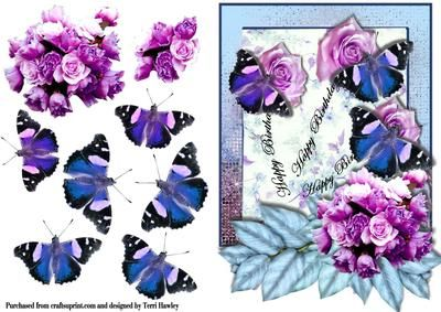 This pretty birthday card looks great when the butterflies or only glued down the middle and then flair out the wings, the stalks of the roses are the words that say Happy Birthday. enjoy and make someones day.
