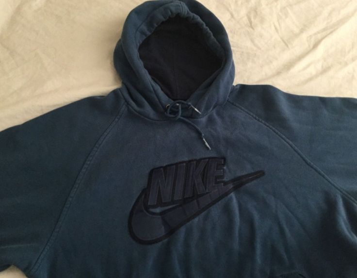 Rare Nike Mens Pullover Hoodie Sweater Sz L Blue w Embroidered Nike Swoosh Logo #Nike #HoodiePullover