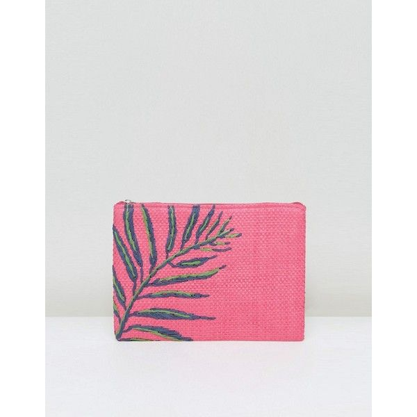 South Beach Hot Pink Straw Clutch Bag With Palm Embroidery (56.420 COP) ❤ liked on Polyvore featuring bags, handbags, clutches, pink, woven straw handbags, straw handbags, hot pink clutches, straw clutches and woven purses