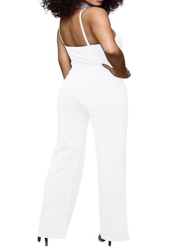 d76e7bed59e White Lace-up Spaghetti Strap Drawstring Waist One Piece Slim Long Jumpsuit
