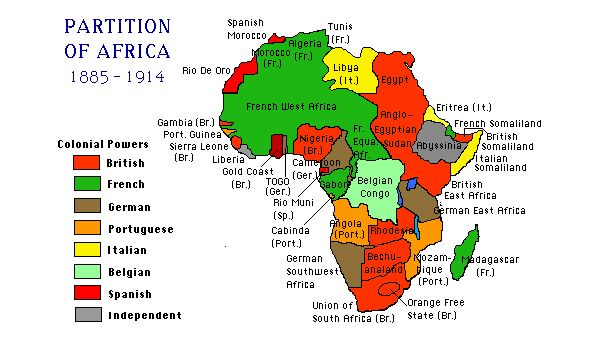 This is the what came from the Berlin Conference. Countries in Europe had a meeting to see who would get each part of Africa. These were the results.