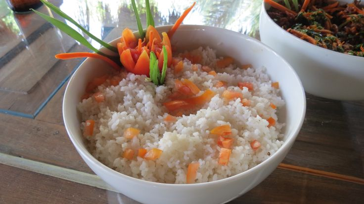 Beautifully decorated organic heirloom rice for lunch