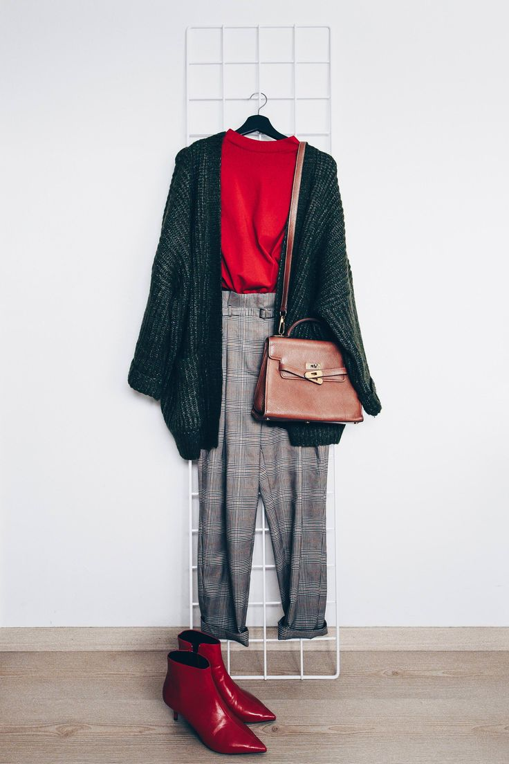 Red sweater+grey checked pants+red heeled ankle boots+dark grey knit cardigan+brown shoulder bag. Fall Workwear / Everyday Casual Outfit 2017