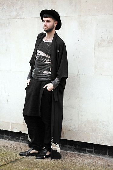 Get this look: http://lb.nu/look/7174192  More looks by Geraint Donovan-Bowen: http://lb.nu/hisnameisfashion  Items in this look:  Topman Fedora, Blitz Vintage Kimono, Boohoo Top, Zara Skirted Trousers, Topman Cutout Shoes   #artistic #bohemian #minimal