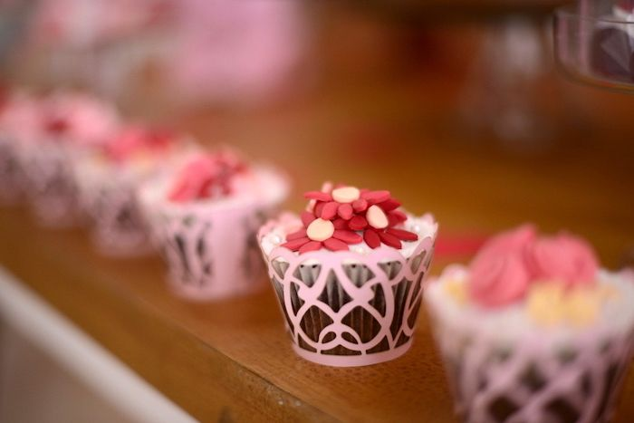 Cupcake topped with red sugar flowers from a Butterfly Garden Party on Kara's Party Ideas | KarasPartyIdeas.com (9)