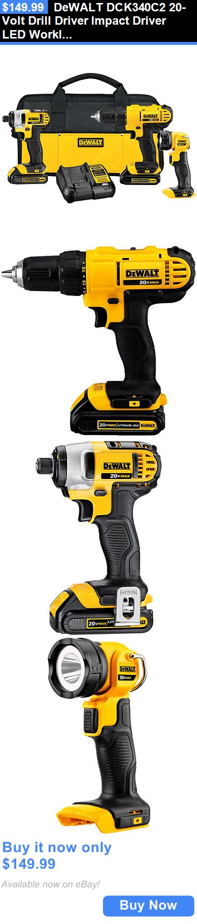 tools: Dewalt Dck340c2 20-Volt Drill Driver Impact Driver Led Worklight Combo Tool Kit BUY IT NOW ONLY: $149.99