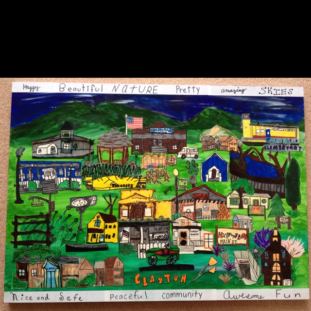 3rd grade classroom art auction project. The kids drew our town landmarks and I cut them out and put on a painted canvas. Our town s at the base of Mt. Diablo