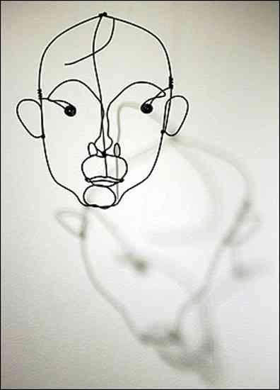 A wire sculpture of Catalan painter Joan Miro by sculptor Alexander Calder