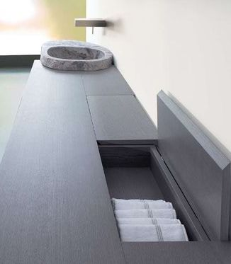 Le Acque, washbasin stand shelf with drawer and flap door, designed by Claudio Silvestrin for Toscoquattro _