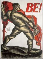 Political propaganda poster. Kmetty Janos: Be! - plakát, 1919. Join!, meaning to join the Red Army of 1919. The red flag was an iconic symbol of the Bolshevik revolution at this time.