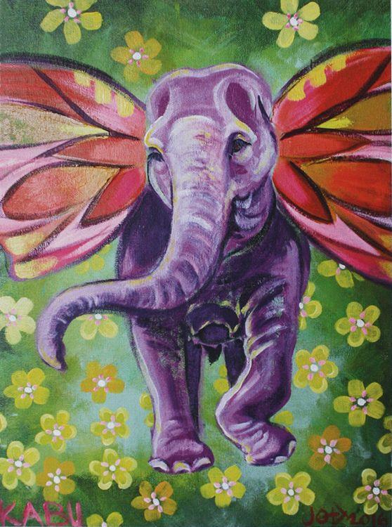 Elephant painting on canvass, Kabu