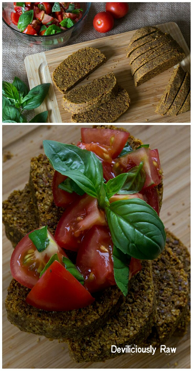 My Experiment in Homemade Raw Vegan Bread - It's easier than you think! Bruschetta is my absolute favourite. It`s simple and quick to make and is awesome as snack or meal aanndd my #raw #vegan bread will make you never look back on regular Bruschetta;)