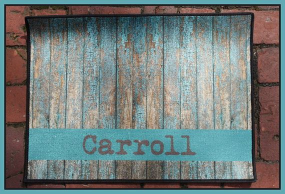 Door Mat Monogrammed Gifts Wood Look Rustic Personalized