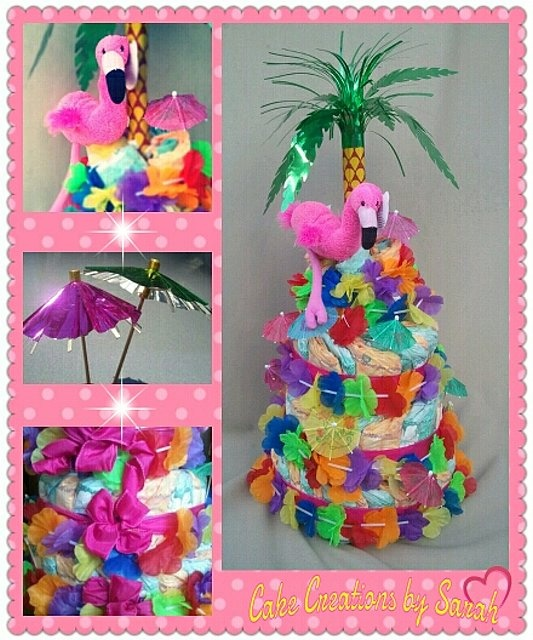I recently made this for a baby shower. Its simply but lively with colors. They had the new Hawaiian diapers for the summer, some flower lays, a stuffed animal,  pink ribbon for a girl and some umbrellas ( you can find these maybe in the drink isles ) this was very affordable and cute to make for a baby shower gift or center piece.