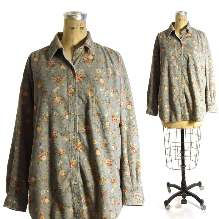 Corduroy shirt vintage 90s button down long sleeve floral