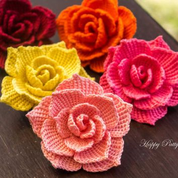 Crochet Stitches Rose : ideas about Crochet Rose Patterns on Pinterest Crocheting, Crochet ...
