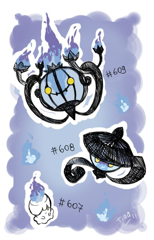 This set of evolutions, Litwick, Lampent, and Chandelure, really appeals to me. They all have a pretty simple and macabre design. The fire with the pure white of Litwick or the pure black of Lampent looks great. They are all both cute and creepy.