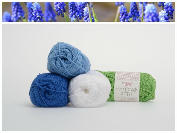 Inspirert av blomster, Mandarin Petit.  1001, 6015, 5936, 8514. #farger #fargekombinasjon #inspirasjon #blomster #garn