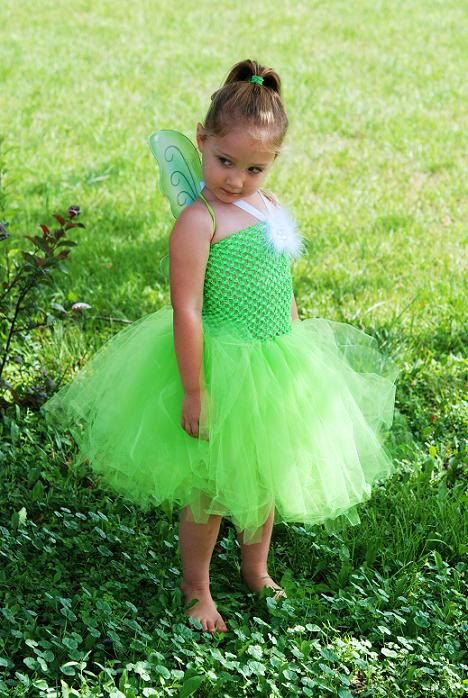 Tinkerbell Tutu Dress Costume,  Includes Wings  by Kenzie's Treasures