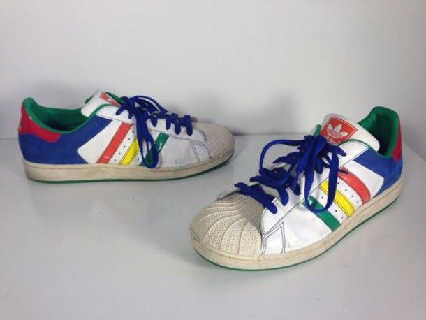 shoes adidas adidas superstar 2 multicolors sneakers skateboard street adidas shoes adidas superstars hippie tumblr colorful indie