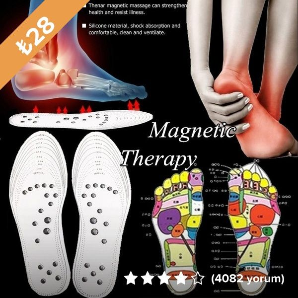 1Pair Shoe Gel Insoles Feet Magnetic Therapy Health Care Comfort Pads FootRelax.