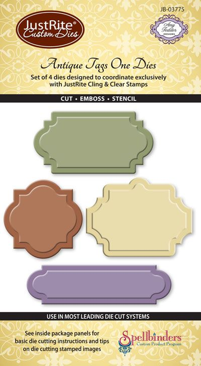 JB-03775_ Antique_ Tag_ Dies_ One by Spellbinders for JustRite Papercraft