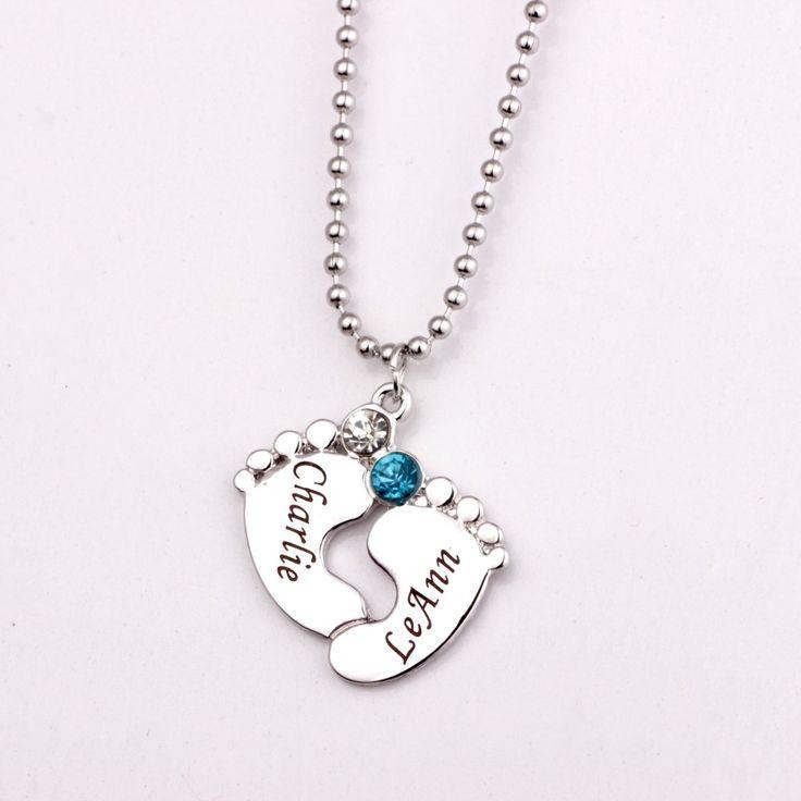 Gravur Baby Füße Anhänger Halskette mit Birthstones 2017 Lange Birthstone Halsketten Nach Maß Irgendeine Name YP2483