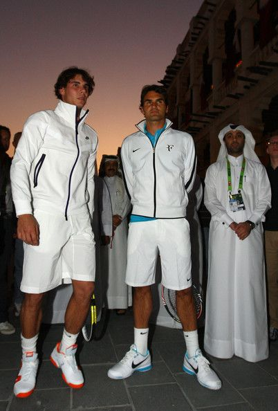 Roger Federer of Switzerland and Refael Nadal of Spain attend a photocall to Launch the ATP Qatar Exxon Mobile Open at the Souq Waqif on January 3, 2010 in Doha, Qatar. (Jan. 2, 2010 - Source: Ian Walton/Getty Images Europe)