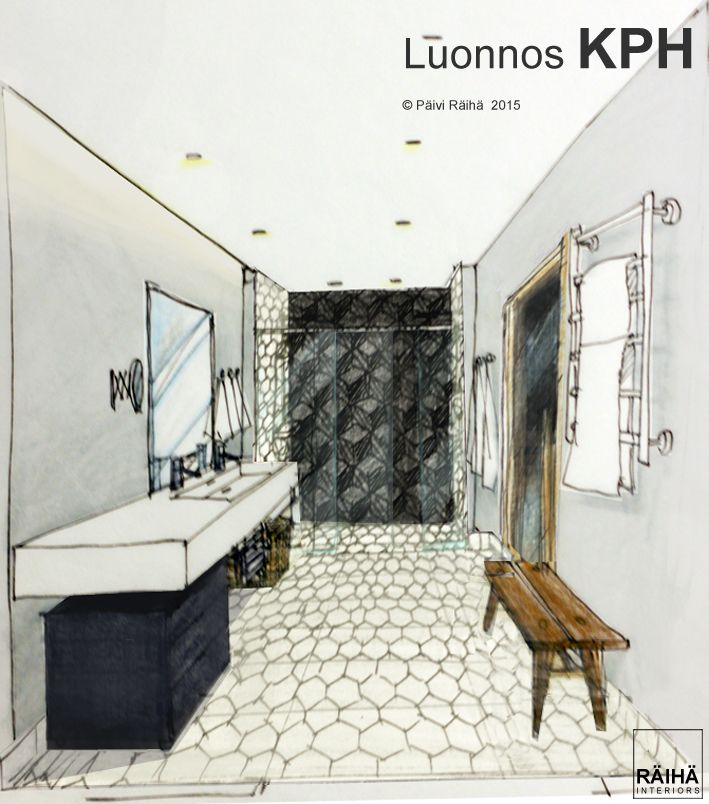 interior architecture   private home in Espoo   Finland 2015. Handrawing sketches by Päivi Räihä. Achitectural perspective drawings.