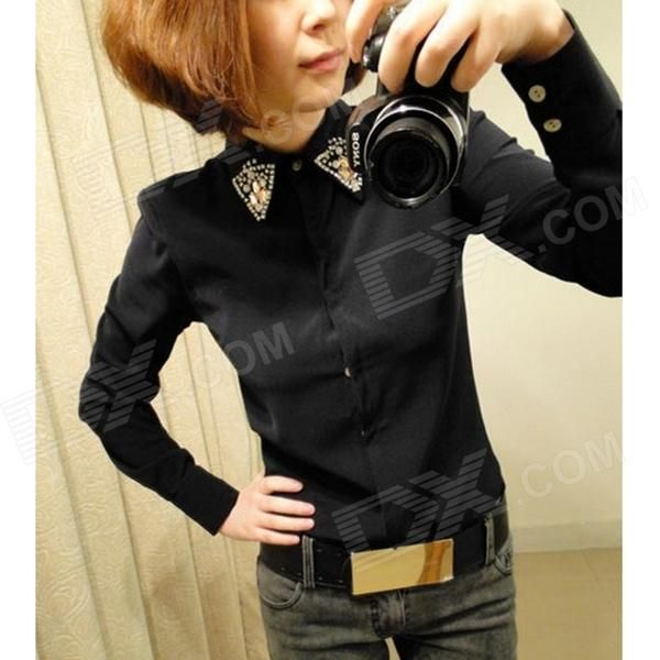 Color: Black; Size: Others,; Quantity: 1 Piece; Shade Of Color: Black; Material: Chiffon; Style: Fashion; Shoulder Width: 36 cm; Chest Girth: 86 cm; Waist Girth: 55 cm; Total Length: 67 cm; Suitable for Height: 165~170 cm; Packing List: 1 x Shirt; http://j.mp/1lkzeR3